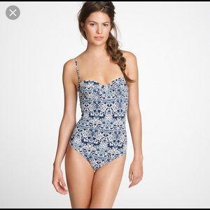 J Crew Liberty of London Blue Floral Tank Swimsuit